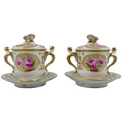 Pair of Spode Covered Cups and Stands, circa 1820