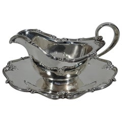 Pretty American Sterling Silver Gravy Boat on Stand