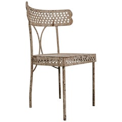French Iron Chair from the 1930s, Unusual Model, Great Patina
