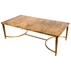 Midcentury Italian Modern Aldo Tura Goatskin Leather Cocktail Coffee Table