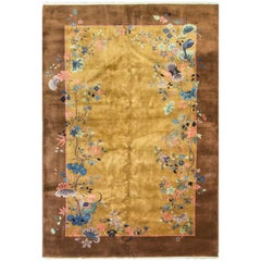 Incredible Antique Art Deco Chinese Carpet
