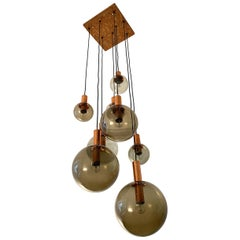 Eight Smoked Glass Globe Ceiling Light, RAAK, 1970s