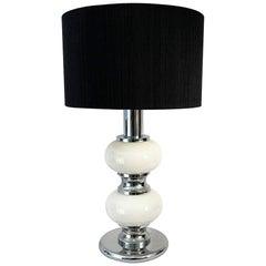 White Glass and Chromed Metal Table Lamp by Sölken Leuchten, 1970s