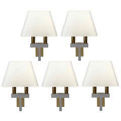 Pair of Chrome and Brass Wall Lights in the Style of Willy Rizzo, 1970s