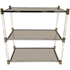 Three-Tier Chrome, Lucite and Brass Coffee Table