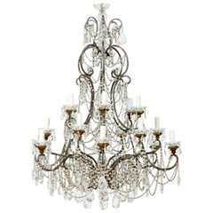 Grand Italian 18-Light Crystal Beaded Chandelier