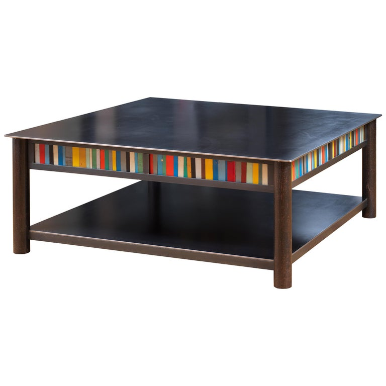 Jim Rose Steel Furniture - Square Coffee Table with Shelf and Multi-Color Panels For Sale