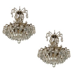 Pair of Large Austrian Crystal and Brass Chandeliers, circa 1960s