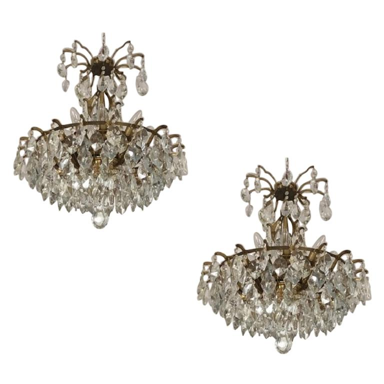 Pair of Large Austrian Crystal and Brass Chandeliers, circa 1960s For Sale