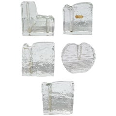 """Collection of 5 Ice Block Glass """"Solifleur"""" Vases, German, 1960s"""