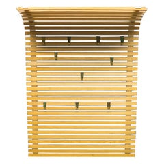 Large Wooden Slats and Brass Hooks Wall-Mounted Coat and Hat Rack, Austria 1950s