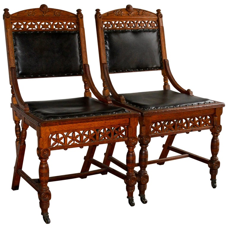 Pair Aesthetic Movement Chairs Herter Bros. 'Attributed' For Sale