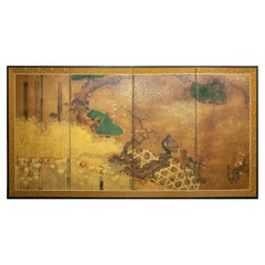 "Japanese Four-Panel Screen ""Rimpa Painting of Pheasant on Old Plum in Garden"""