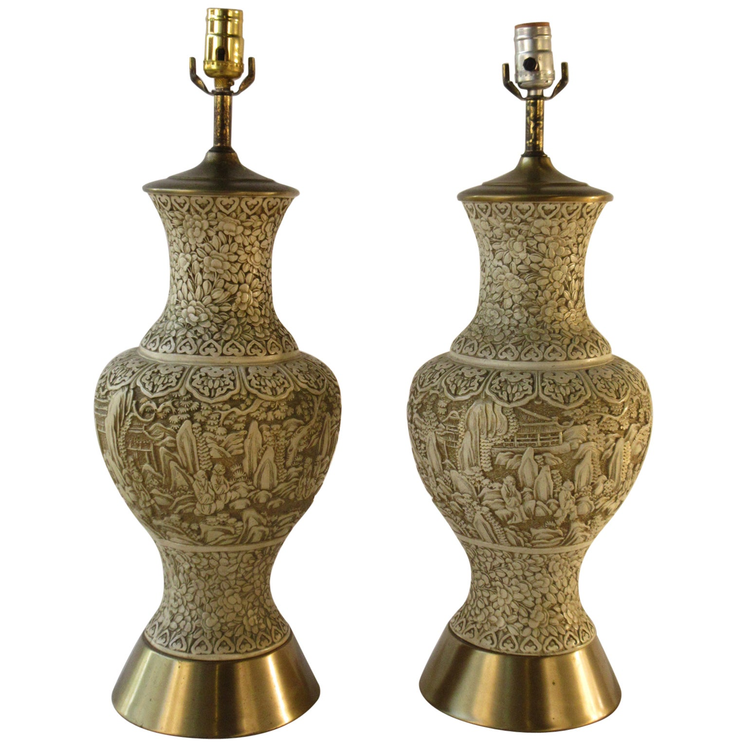 Pair of 1950s Plaster Asian Style Lamps