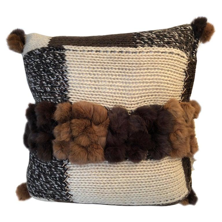 """Pistoia"" Handwoven Merino Wool Pillow with Angora Trim For Sale"