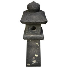 Japanese Tall Black Antique Pathway Stone Lantern, 100 Years Old