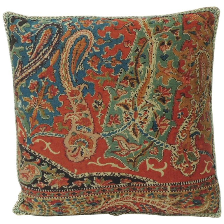 Petite Kashmir Paisley Indian Silk Red Textile Decorative Pillow For Sale