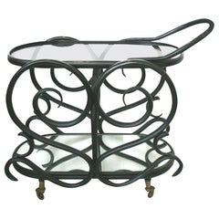 Midcentury Black Ebonized Bentwood Serving Trolley after Thonet, 1950s