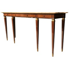 Italian Modern Marquetry Inlaid Marble Top Console Table by Paolo Buffa
