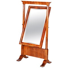 Unique Walnut Biedermeier Dressing Mirror-Psyché from Austria, Period 1810-1819