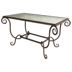 René Prou, Wrought and Hammered Iron Coffee Table with Faux-Antique Mirror Top