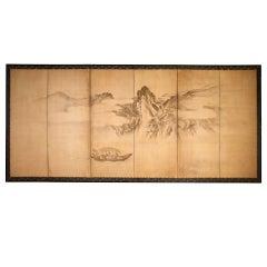 Japanese Nanga School Ink on Paper Six-Panel Folding Screen