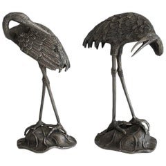 Pair of Silvered Bronze Herons, Attributed to Maison Bagués, circa 1940
