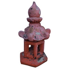 Vintage Distressed Orange Cast Cement Pagoda for the Garden