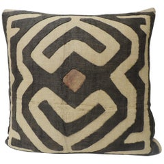 Vintage Tan and Brown Raffia Appliqué Kuba Decorative Pillow
