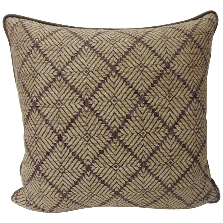 Vintage Dark Brown African Woven Artisanal Textile Embroidery Decorative Pillow For Sale