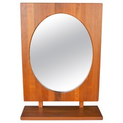 Solid Teak Table or Wall Mirror with Shelf in Oval by Pedersen & Hansen, Denmark