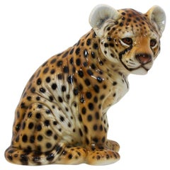 Hand Painted Porcelain Italian Puppy-Leopard Sculpture, 1970s