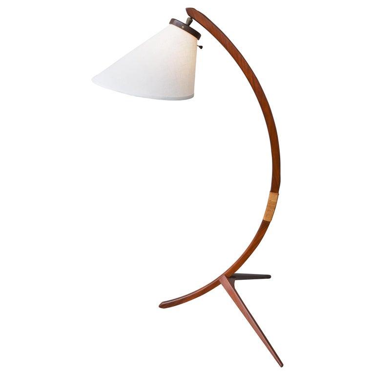 Danish Teak Arc Or Bow Tripod Floor Lamp With New Bonnet