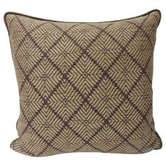 Vintage Dark Brown African Woven Artisanal Textile Embroidery Decorative Pillow