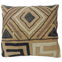 Vintage Tan and Black Raffia Appliqué Tribal Decorative Textured Finish Pillow
