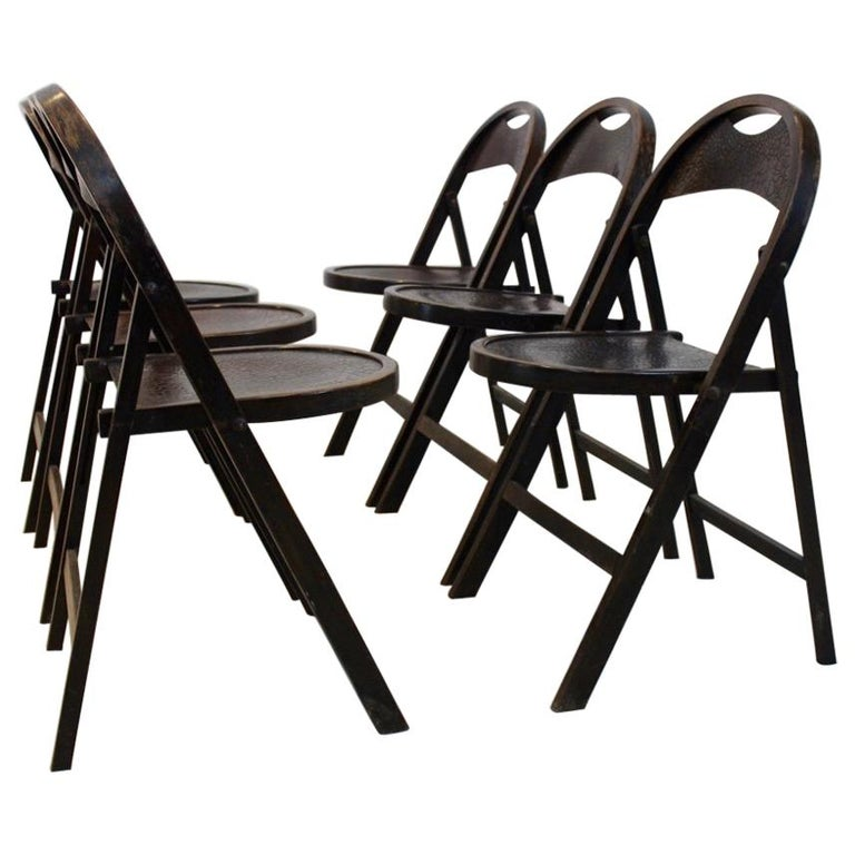 Stock of Solid Wood Bauhaus Folding Chairs with Unique Croco Woodprint, Thonet For Sale