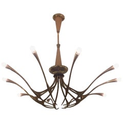Oscar Torlasco Model 392 Brass Chandelier for Lumi