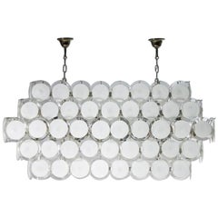 Modern Italian Chandelier with Milk colored discs in Blown Murano Glass