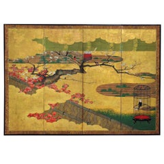 18th Century Japanese Painted and Gold Leaf Four-Panel Folding Screen