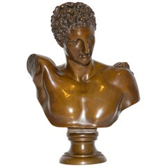 Bronze Bust Hermes of Olympia 19th Century Grand Tour