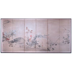 19th Century Japanese Rimpa Floral 6-Panel Folding Screen