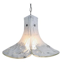 Huge Midcentury J.T. Kalmar Murano Ice Glass Petals Pendant Lamp, 1970s, Austria