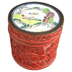Chung Hsing Chinese Genuine Cinnabar Carved Lacquer Box, circa 1900