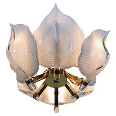 Hollywood Regency Franco Luce Murano Glass Leaves Chandelier, Italy, 1970s