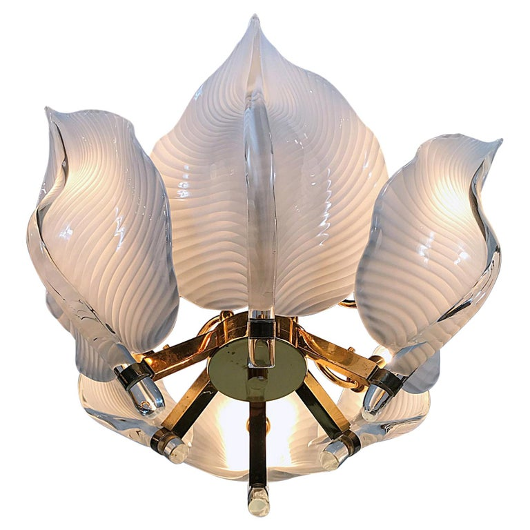 Hollywood Regency Franco Luce Murano Glass Leaves Chandelier, Italy, 1970s For Sale