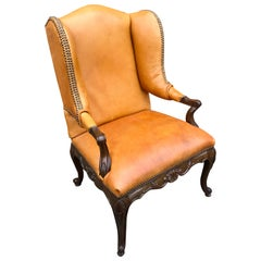 Louis XIV Style Carved Mahogany and Saddle Leather Armchair or Bergère