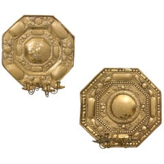 Close Pair of Dutch Brass Three-Light Sconces