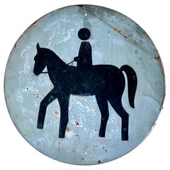 Vintage Metal Horse Crossing Sign