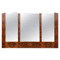 Italy Large Wall Mirror Art Deco, Burl Walnut, Excellent Conditions Wax-Polished