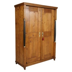 Austrian 18th Century Empire Style Two Doors Larch Wood Armoire Wardrobe Cabinet